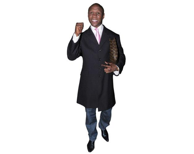 A Lifesize Cardboard Cutout of Chris Eubank wearing a tie