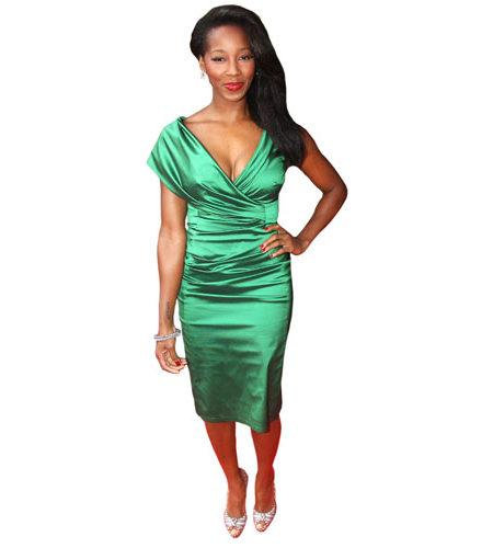 A Lifesize Cardboard Cutout of Jameila wearing green
