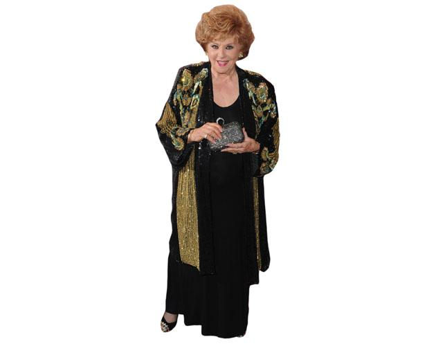 A Lifesize Cardboard Cutout of Barbara Knox wearing a dress