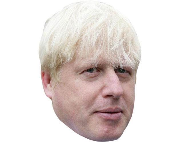 A Cardboard Celebrity Mask of Boris Johnson