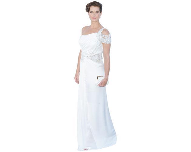 A Lifesize Cardboard Cutout of Brooke Shields wearing a gown