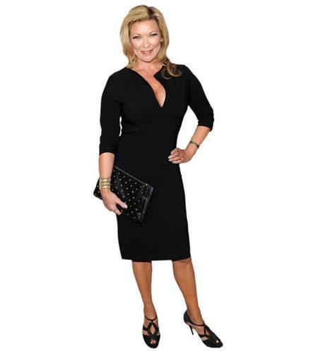 A Lifesize Cardboard Cutout of Claire King wearing a dress