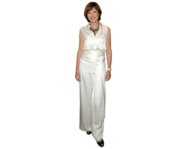 A Lifesize Cardboard Cutout of Fiona Bruce wearing a gown
