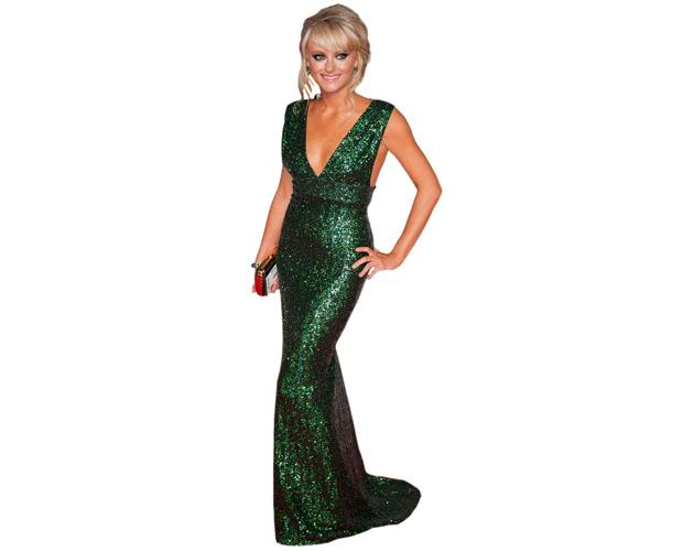 A Lifesize Cardboard Cutout of Katie McGlynn wearing a green gown