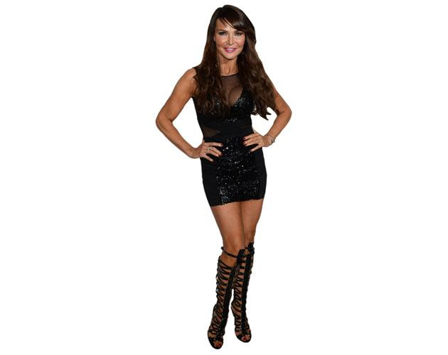 A Lifesize Cardboard Cutout of Lizzie Cundy wearing boots