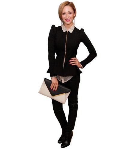 A Lifesize Cardboard Cutout of Lucy Jo Hudson wearing trousers