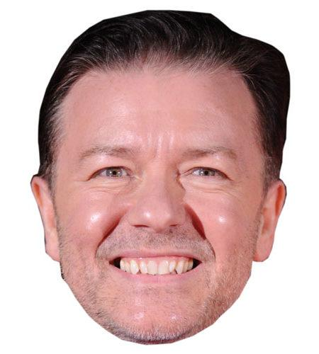 A Cardboard Celebrity Mask of Ricky Gervais