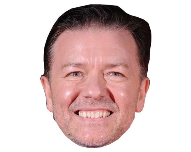 A Cardboard Celebrity Mask of Ricky Gervais