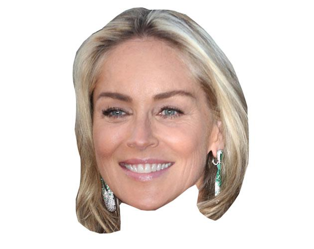 A Cardboard Celebrity Mask of Sharon Stone