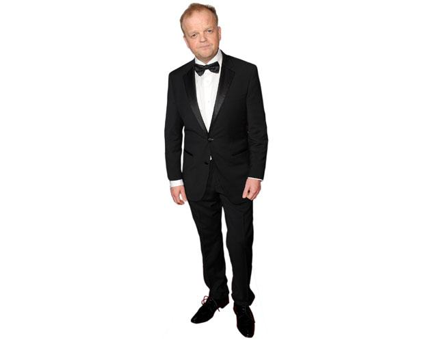 A Lifesize Cardboard Cutout of Toby Jones wearing a dinner suit