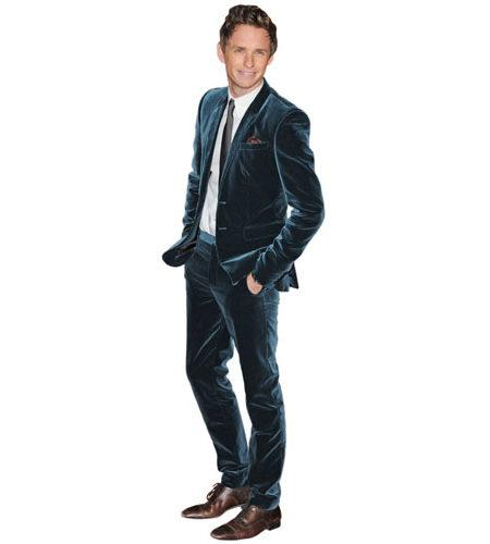 A Lifesize Cardboard Cutout of Eddie Redmayne wearing a blue suit