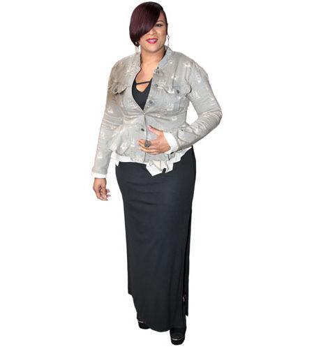 A Lifesize Cardboard Cutout of Gabrielle wearing a black dress