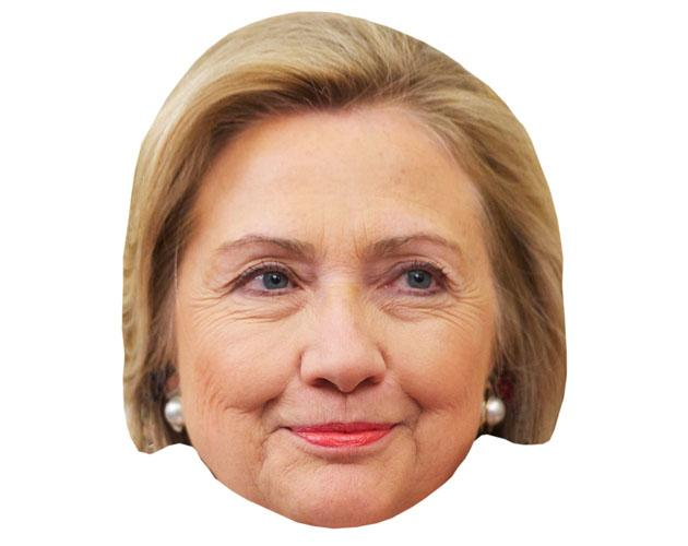 A Cardboard Celebrity Mask of Hilary Clinton