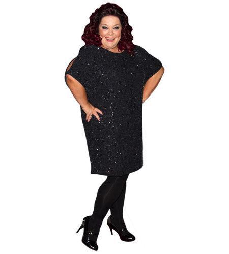 A Lifesize Cardboard Cutout of Lisa Riley wearing a black dress