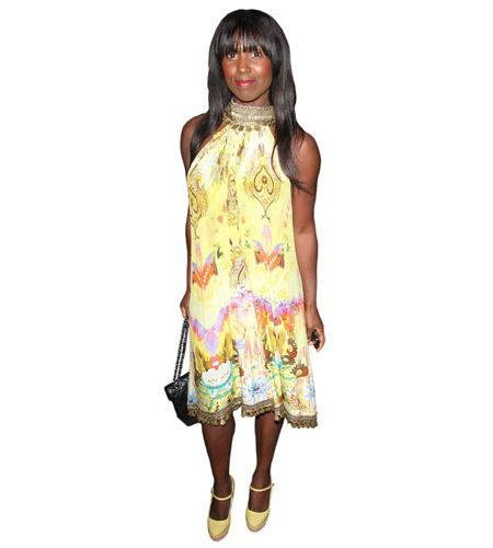 A Lifesize Cardboard Cutout of Michelle Gayle wearing a floral dress