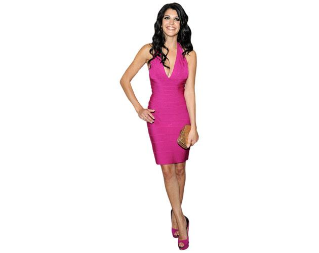 A Lifesize Cardboard Cutout of Natalie Anderson wearing a pink dress