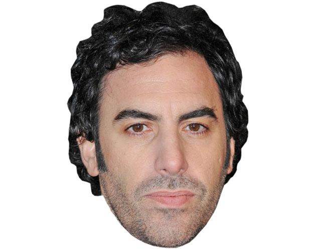 A Cardboard Celebrity Mask of Sacha Baron Cohen