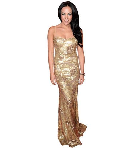 A Lifesize Cardboard Cutout of Stephanie Davis wearing a gold dress