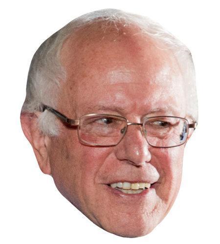 A Cardboard Celebrity Mask of Bernie Sanders