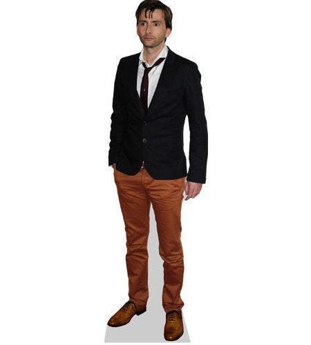 A Lifesize Cardboard Cutout of David Tennant wearing brown trousers