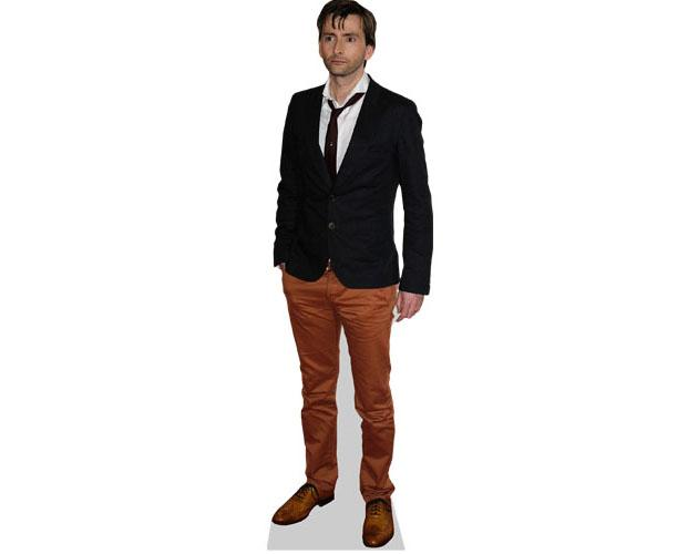 A Lifesize Cardboard Cutout of David Tennant wearing brown trousers