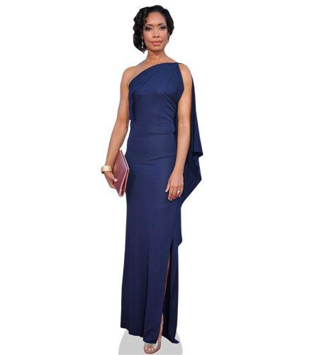 A Lifesize Cardboard Cutout of Gina Torres wearing a blue gown