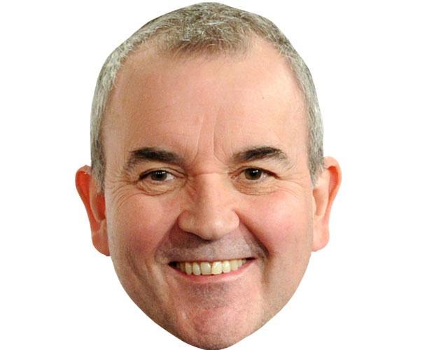 a Cardboard Celebrity Mask of Phil Taylor
