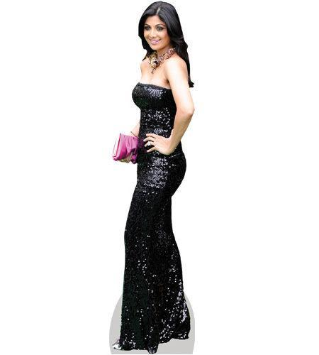 A Lifesize Cardboard Cutout of Shilpa Shetty wearing a gown