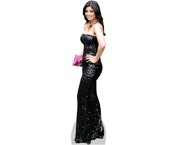A Lifesize Cardboard Cutout of Shilpa Shetty wearing a gown
