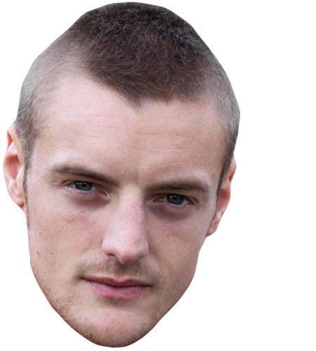 A Cardboard Celebrity Mask of Jamie Vardy