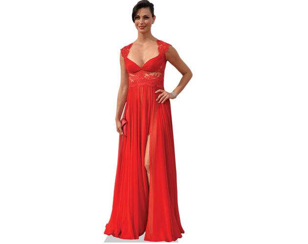 A Lifesize Cardboard Cutout of Morena Baccarin wearing a red dress