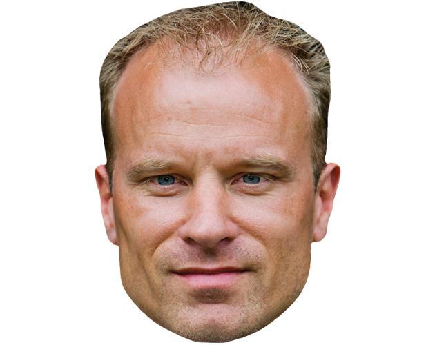 A Cardboard Celebrity Mask of Dennis Bergkamp