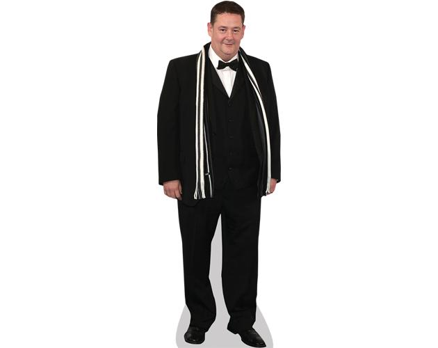 A Lifesize Cardboard Cutout of Johnny Vegas wearing a suit
