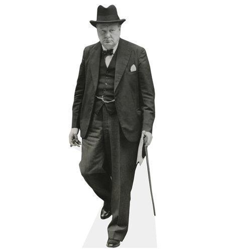 A Lifesize Cardboard Cutout of Winston Churchill carrying a cane
