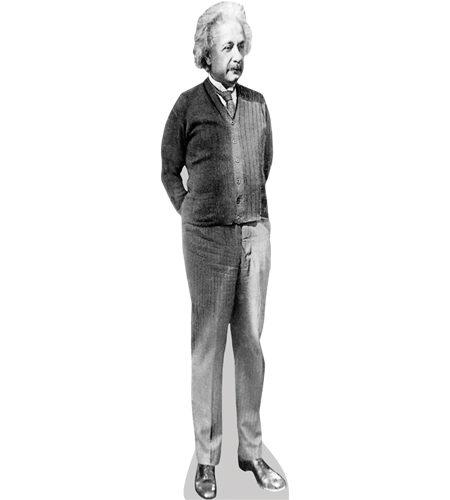A Lifesize Cardboard Cutout of Albert Einstein (B&W)