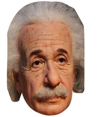 A Cardboard Celebrity Mask of Albert Einstein