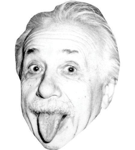 A Cardboard Celebrity Mask of Albert Einstein (Tongue)