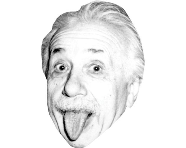 A Cardboard Celebrity Mask of Albert Einstein (Tongue)