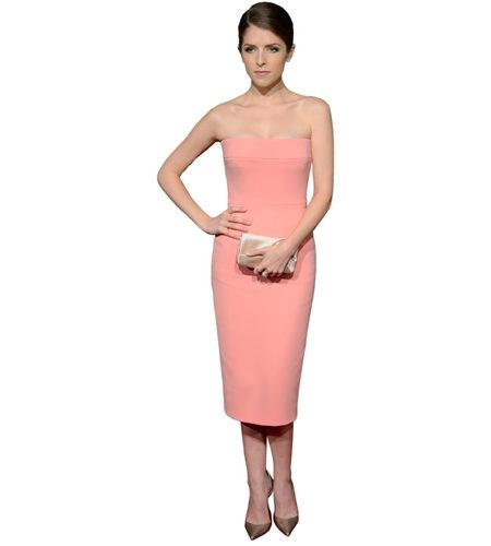 A Lifesize Cardboard Cutout of Anna Kendrick wearing a peach dress