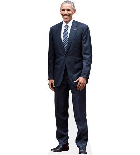 A Lifesize Cardboard Cutout of Barack Obama wearing a suit
