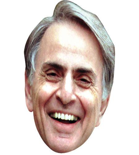 A Cardboard Celebrity Mask of Carl Sagan