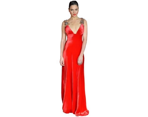 A Lifesize Cardboard Cutout of Gal Gadot wearing a red dress