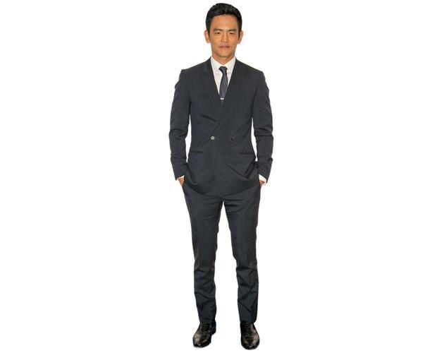 A Lifesize Cardboard Cutout of John Cho wearing a suit