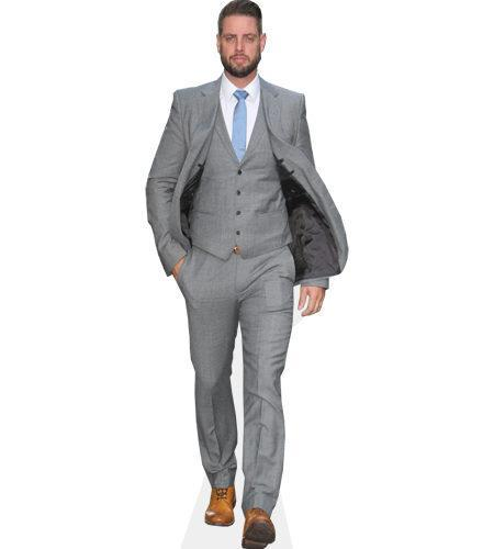 A Lifesize Cardboard Cutout of Keith Duffy wearing a grey suit