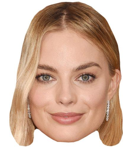 A Cardboard Celebrity Mask of Margot Robbie