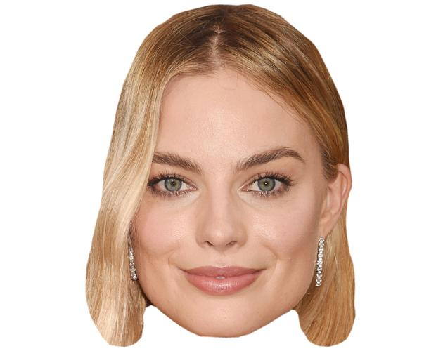 A Cardboard Celebrity Mask of Margot Robbie
