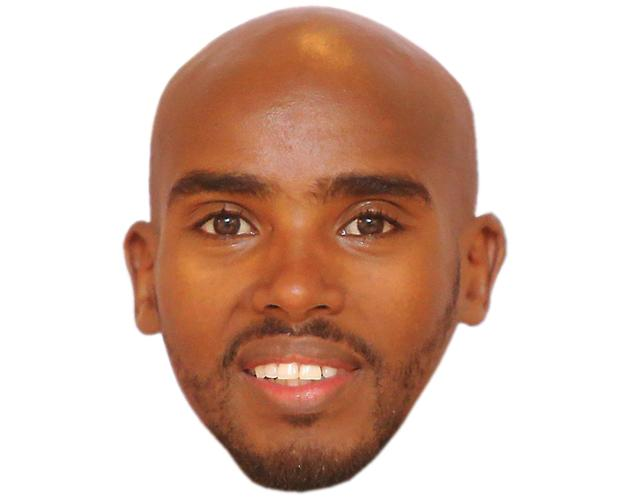 A Cardboard Celebrity Mask of Mo Farah