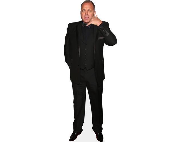A Lifesize Cardboard Cutout of Nev Wilshire wearing a black suit