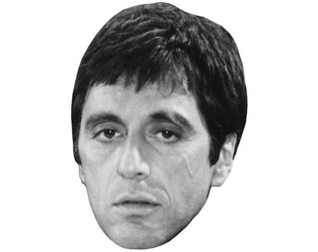A Cardboard Celebrity Mask of Al Pacino (B&W)