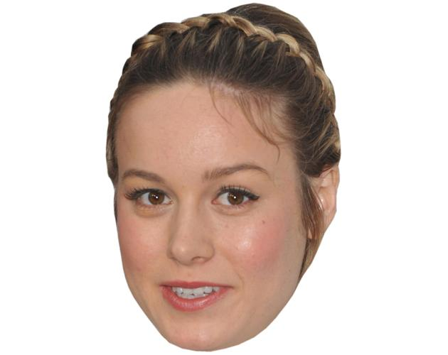 A Cardboard Celebrity Mask of Brie Larson